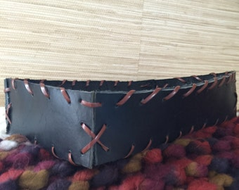 Large black leather basket