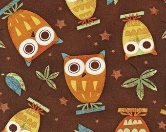 Fabric On a Whim Owls on Earth Brown Robert Kaufman 1 Yard