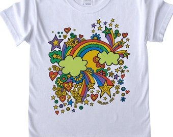 Girls T shirt to Colour in Rainbow Design Doodle Colouring in Art Fabric Pens Tee Shirts Fun Activity for Kids