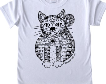 Girls T shirt to Colour in Cat Design For Kids Doodle Colouring in Art Fabric Pens Tee Shirts Fun Activity for Kids