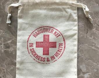 Hangover Kit Bag Set of 10 -4x6 Survival Kit-Bachelorette Party Favors -Wedding Favor Bags -Muslin Drawstring Bags- Gift Bags