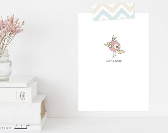 Greeting Card | Winky Wonky Birdies Collection | Just A Note