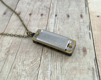 Miniature Harmonica Necklace Pendant Mini Vintage Style Harmonica Pendant Charm Small Silver Mouth Harp Organ REALLY WORKS