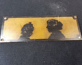 Antique Wooden Silhouette Painting of Mother and Daughter on Wood Board