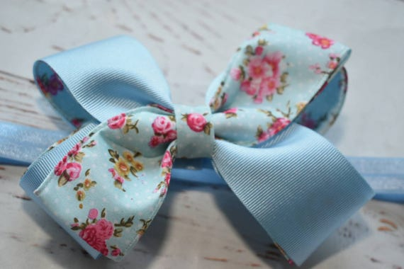 Blue floral headband - Baby / Toddler / Girls / Kids Headband / Hairband / Hair bow / Barrette / Hairclip