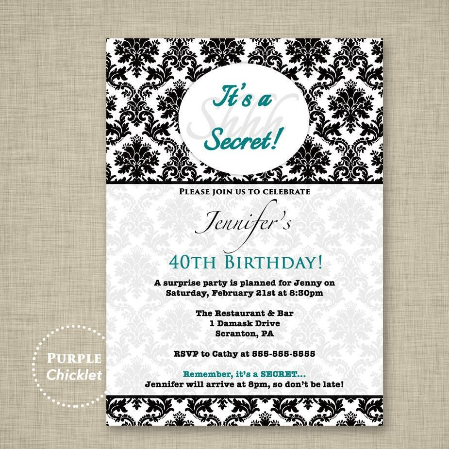 Teal Surprise Party Invitation Black Damask 40 50 60th Birthday ...