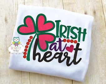 Irish at Heart Shirt or Bodysuit, Girl St Patricks Day, Girl Shamrock Shirt, Girl St Patty's Day Shirt, Little miss Shirt, Girl St Patricks