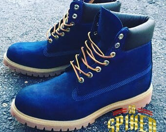 Custom Blue Timberlands