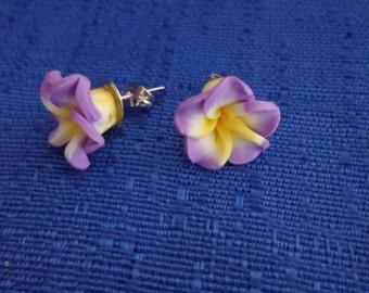 Lavander Hibiscus Flower Earrings,Lavander Flower Stud Earrings,Plumeria Earrings