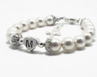 Baby Monogram Bracelet, Monogram Jewelry, Initial Bracelet, Christening Bracelet, Baptism Bracelet, First Communion, Baby Bracelet (B139-52)