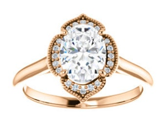 "25% OFF Moissanite ""Forever Brilliant"", Diamond 14K Gold Vintage Style Halo Engagement Ring"