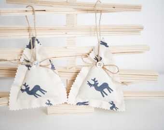 White Fabric Trees with blue reindeers - Christmas Tree Ornaments - Cotton Fabric Trees - Holiday Ornaments with reindeer - Nordic Christmas