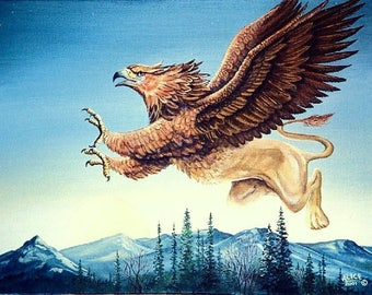 FANTASY PRINT - GRYPHON; wall art, 8 x 10 inches, legendary creature, half lion - half eagle, fantsy print, from an original painting