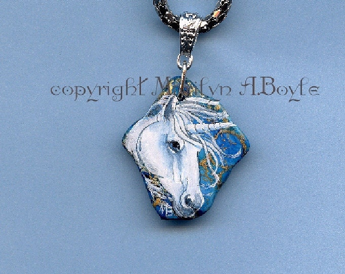 Hand PAINTED UNICORN PENDANT; jewelry, necklace, unicorn head, fantasy, silver metal 18 inch chain with 3 inch extender, original art,