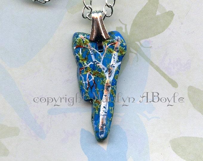 HAND PAINTED PENDANT; irregular blue stone, birch, spring birch, wearable art, original art,