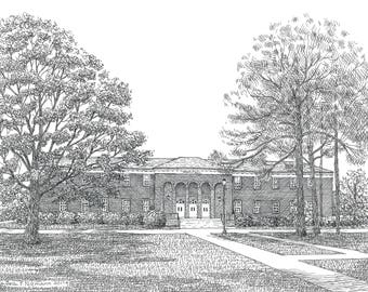 Graduation Gift, Retirement Gift, DeLoach Hall UNCWilmington, Wilmington NC, Drawing of campus building, drawing from photo, custom painting
