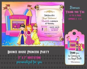 Princess Bounce House invitation, Digital invitation,  Princess bounce House invite, Party Birthday