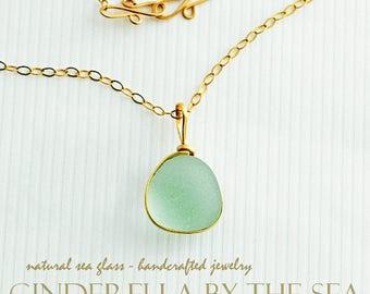 Sea Glass, Genuine Sea Glass, Rare Aquamarine Seaglass Pendant Necklace Handmade in 14 kt Gold Fill FREE SHIPPING