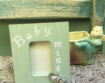 Baby Mine frame,vintage look baby frame,vintage nursery,sage green baby frame,baby animal nursery,Dumbo nursery,Alison Kraus Baby Mine