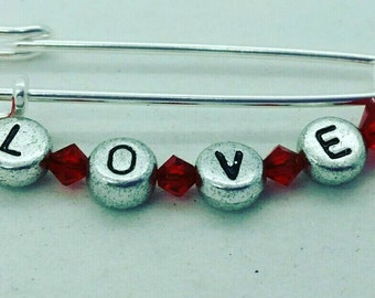 Love safety pin, heart safety pin, red safety pin, hope safety pin, safety pin jewelry heart, safety pin jewelry, solidarity safety pin