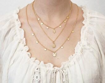 Layering necklace Hamsa sun