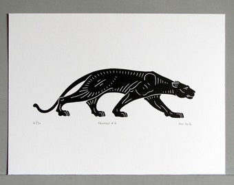 Panther Linocut Print. Handmade, original and limited edition.