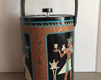 "Vintage Georges Briard Vinyl Ice Bucket King Tut Egyptian Hieroglyphics 12"" Tall"