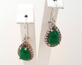 Sterling Silver Earrings, Silver Earrings ,Rose silver Earrings ,Emerald Earrings ,Zircon Earrings,Drop Shaped Earrings