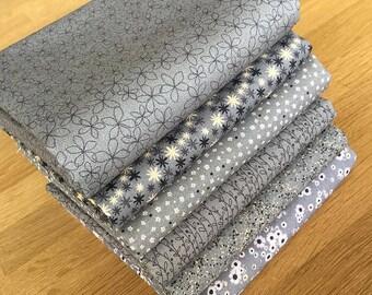 Matilda in Dark Charcoal Grey Quilting Fat Quarter Bundle by Indigo Fabrics 100% cotton