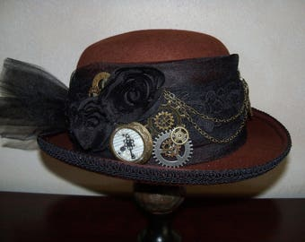 Steampunk Hat, Brown Steampunk Hat, Brown Bowler Hat, Steampunk Bowler Hat, Ladies Bowler Hat, Grey Ghost Toppers,