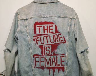 Hand Painted Custom Quote Jean Jacket