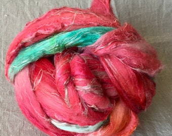 hand-dyed Merino silk linen combed tops 6, to the spinning and felting
