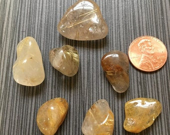 Seven (7) Rutile Quartz Tumbled Stones from lot - Ships free in US!