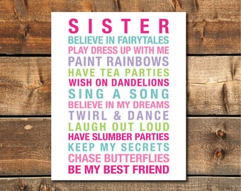 Sisters Wall Art, Big Sister Gift, Girls Rules, Big Sister Gift, Sisters Printable, Girls Room Art, Girls Room INSTANT DOWNLOAD PRINTABLE