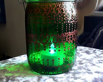 Green glass mason jar tealight holder with gold henna pattern