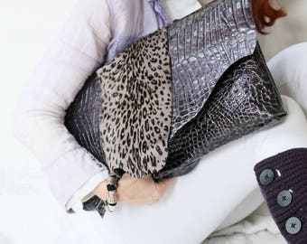 "Oversized leather clutch ""Lavender Field"""
