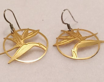 "Vintage Gold Tone 1"" Round Earrings"