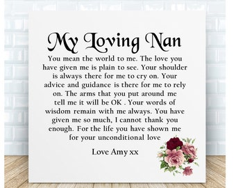 Grandmother Poem Ceramic Plaque. Nan Thank You Gift. Personalised. Birthday Christmas, Mother's Day, Wedding
