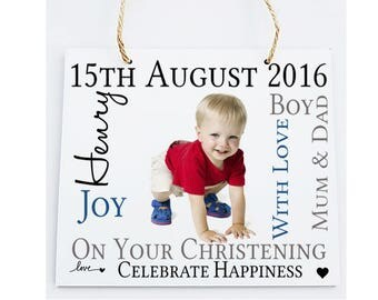 Christening Personalised Wooden Photo Plaque