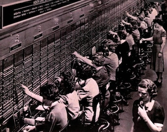 Women, Old Fashioned Telephone Switchboard Operators, Greeting Card NCC974718