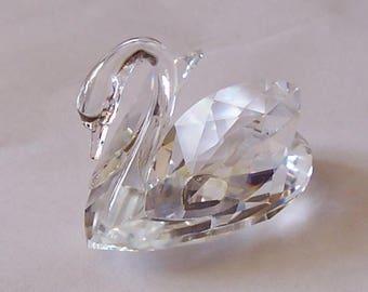 Beautiful Miniature Beveled Cut Glass Swan Figurine
