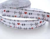 "Nurse Heart Rate Printed Grosgrain Ribbon 1"" Wide Scrapbooking HairBows Parties DIY Projects"