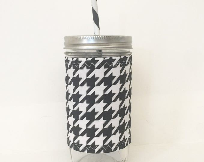 Black and White Houndstooth - Mason Jar Tumbler 24oz