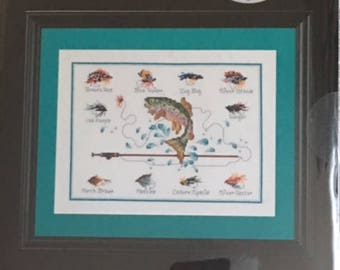 Artiste Counted Cross Stitch Fly Fishing Kit by Kooler Design Studio NEW