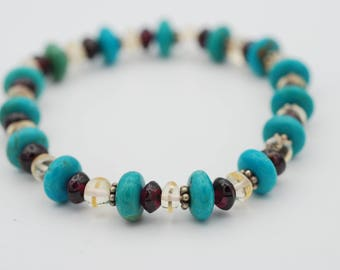 7 1/2 inches Assorted Beads, Turquoise, Garnet and Crystals with 4mm Daisy Sterling Silver