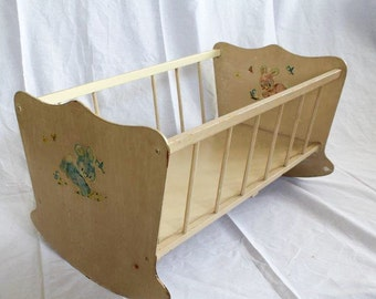Wooden Vintage 1970s Baby Doll Rocking Cradle with Bunny Decals