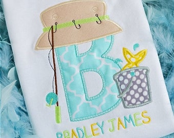 Personalized Fishing Initial Applique Shirt or Onesie Boy or Girl