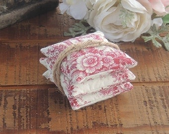 Red and White Toile Lavender or Balsam Sachets Set of 3, Organic Lavender, Lavender Pillows, Natural Aroma Therapy