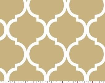 Quatrefoil Fabric White on Khaki Tan 100% Cotton