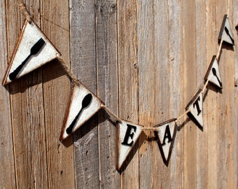 Rustic Eat Sign Flag Wall Pennant Eat Kitchen Sign Wood Wall Pennant Wooden Eat Sign Wood Eat Sign Signage Flag Pennant Kitchen Wooden Sign